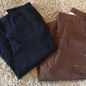 Capri Pants Size 12 BLACK BROWN